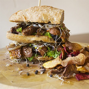 Harissa steak roll with caramelized onion